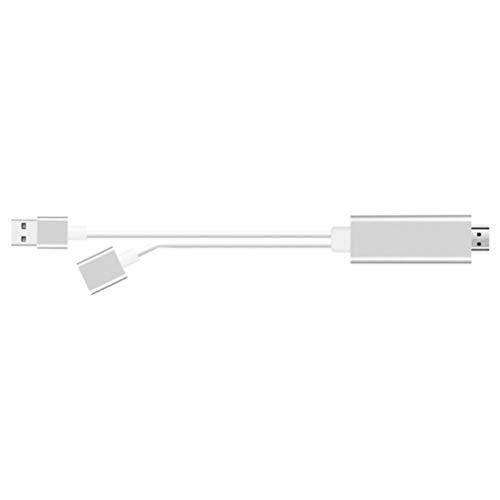 Convertidor USB Hembra a Compatible con HDMI para Cable Apple Android 2 en 1 (Blanco)