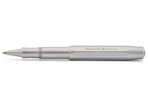 Kaweco AL Sport Silber Gel- / Kugelschreiber inklusive 0,7 mm Rollerball Tintenroller Mine für Linkshänder & Rechtshänder im klassischen Design mit Keramikkugel I Gelroller 13,5 cm