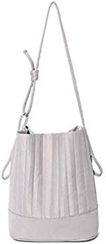 Drand Pleated Design Women Bucket Shoulder Bags Casual Nylon Handbags Female Totes Messenger Bags for Womens Crossbody Bags Light Grey