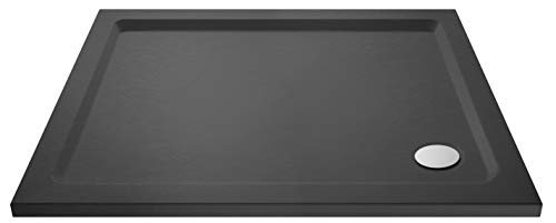 Nuie TR71019 | Modern Bathroom Rectangular Slimline Pearlstone Shower Tray, 900mm x 1100mm, Slate Grey, 1100mm x 900mm