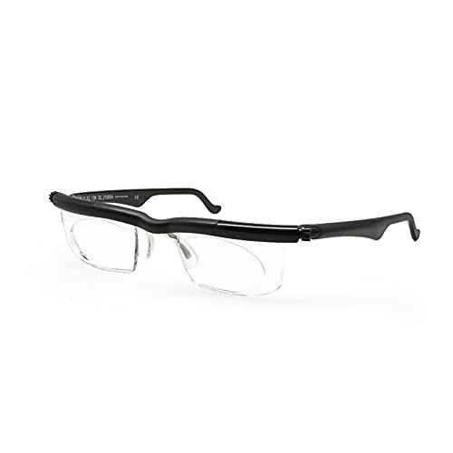 EnzoDate Adlens Focus -4D to +5D Diopters Myopia Magnifying Reading Glasses Variable Strength Adjustable Eyeglasses (Black)