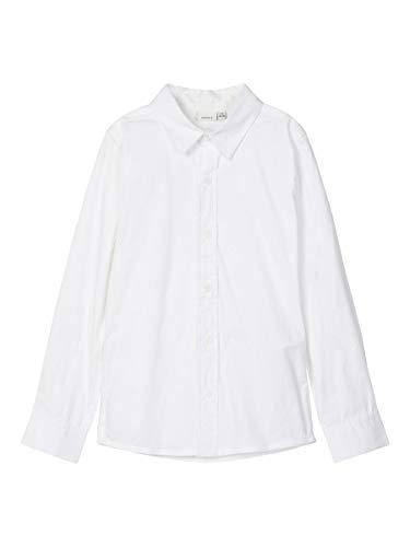 NAME IT Jungen NKMFRED LS Slim Shirt NOOS Hemd, Bright White, 116
