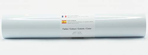 Selbstklebende Plotterfolie Vinylfolie 30,5 cm x 3 m glänzend 39 Farben zur Auswahl, Farbe:Weiß