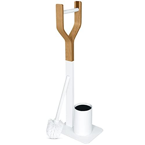 Libaro WC-Garnitur - TRIEST - Stand Toilettengarnitur - WC-Bürste in weiß - Papierrollenhalter aus Holz - Toilettenbürste - mit Kunststoffeinsatz