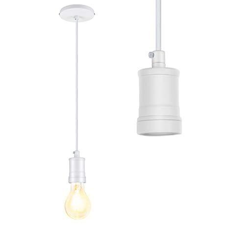 Portalámpara E27 con cable de 1,4 M, ZSTKEKE Vintage Portalámpara E27 Adaptador de Lámpara Retro Socket de Luz, Blanco
