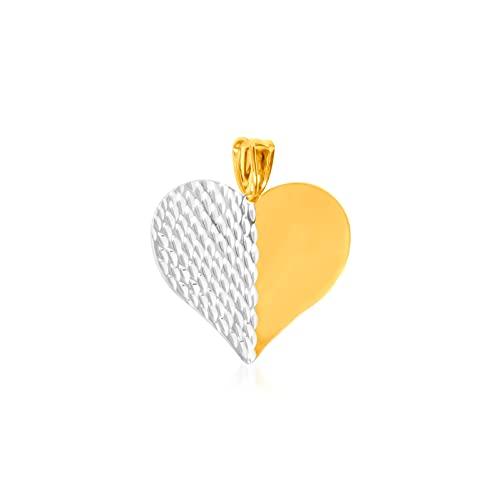 Colgante de oro bicolor de 9 kt corazón abombado diamantado 23/21 mm. Peso: 1,12 g.