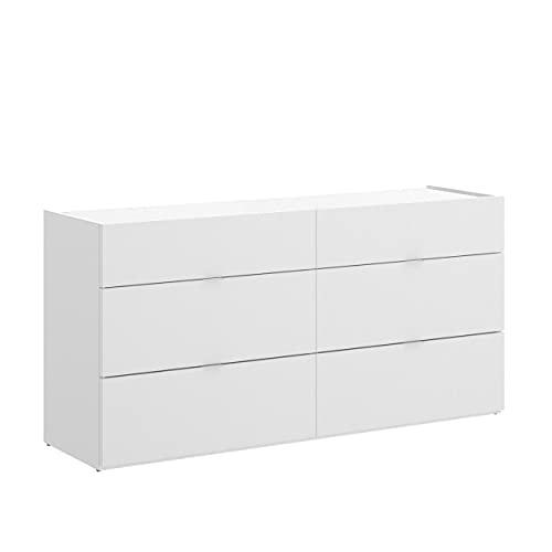 Homely - Cómoda de Seis cajones GIA Tablero de partículas melaminizado Color Blanco 120x39x62 cm