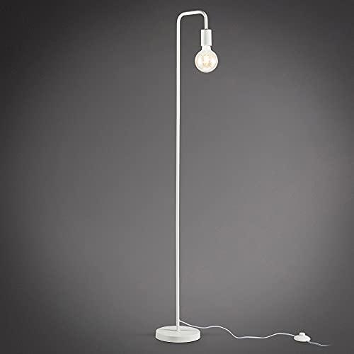 B.K.Licht Lampada da terra adatta per 1 lampadina E27 non inclusa, Altezza 140cm, Lampada a stelo curva con 1 punto luce per soggiorno, Interruttore a pedale, piantana retro in metallo bianco