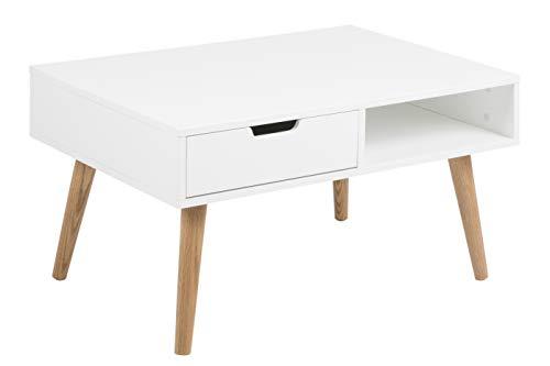 AC Design Furniture Couchtisch Mariela, B: 80 x T:60 x H: 45,5 cm, MDF, Weiss