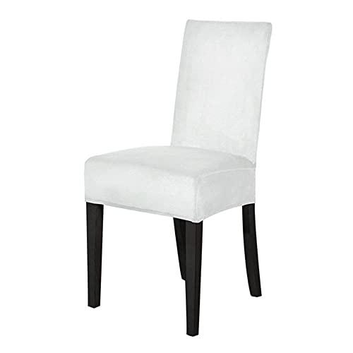 JIAYAN Samt Esszimmerstuhlbezug Elastischer Stuhl Schonbezug Esszimmerstuhlbezüge Sitzkoffer für Hochzeit Hotel Bankett-Weiß, CN, 6-TLG