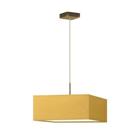 BOGOTA - Lámpara de techo (3 bombillas E27), color amarillo mostaza, marco dorado envejecido