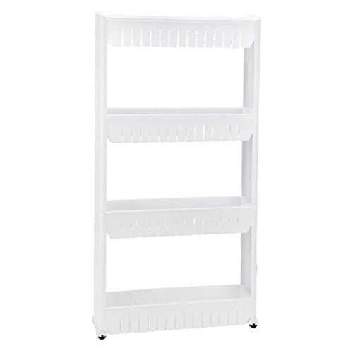 Fenteer Slim Storage Shelf Carrello Gap Rack Slim Slide out Mobile Soggiorno per spazi ristretti - Bianco 4 Strati