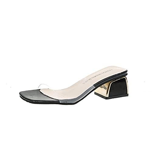 MLLM estate scarpe sandali donna, estate parola con sandali, femminile trasparente sandali-nero_38, Slip-on Soft Indoor pantofole