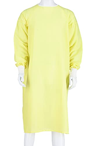 Level 1 Isolation Gown Reusable, Washable - Yellow Fully Closed Double Tie Back One Size Fits All, Knitted Cuffs, Fluid Resistant, Anti Static