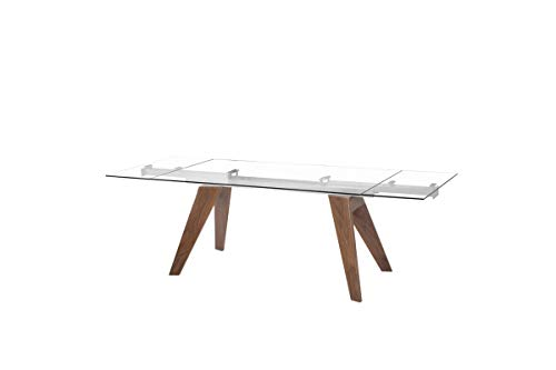 Limari Home Moser Extendable Dining Table, Walnut/Clear