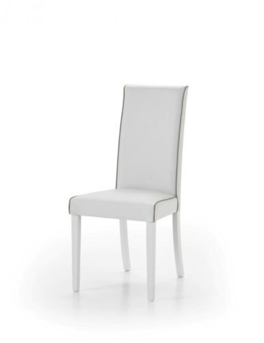 Legno&Design Lot X 2 Chaise Moderne Cuisine Salon Bar rembourré Blanc Cuir synthétique Unie Taupe
