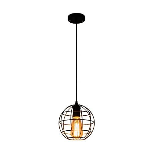 Globe - Lámpara colgante de techo industrial con jaula de hierro forjado, lámpara colgante para restaurante, pasillo, dormitorio, portalámparas E27, lámpara colgante de...