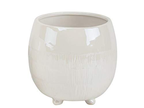 "meindekoartikel Topf ""Draco"" auf Füßen aus Keramik (Creme) – Blumentopf Übertopf Dekotopf - Ø 16,6cm x Höhe 15,5cm"