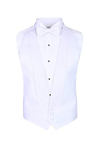 S.H. Churchill & Co. White Pique Formal Vest & Pre Tied Bow Tie - Tailcoat Waistcoat (FITALL, White)