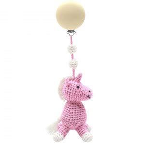 natureZOO Cadena para cochecito, juguete para el cochecito, 1 clip, 20 cm, color rosa, unicornio rosa para niñas, con cascabeles de 100% hilo de bambú certificado ecológico.