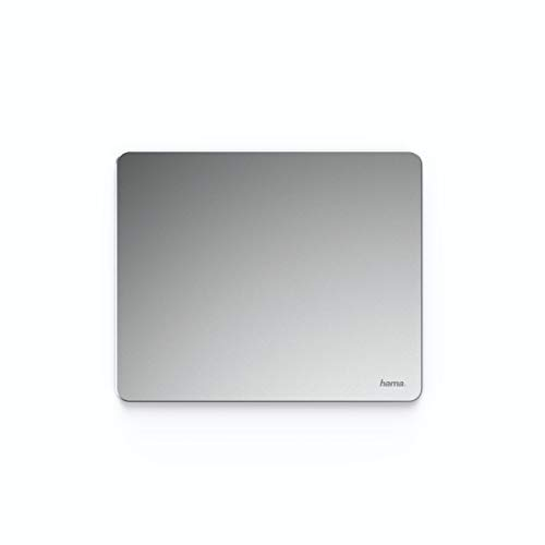 Hama Metall Mousepad (aus Aluminium, elegante Alu Mausunterlage für Laser-/optische Maus, rutschfest, hart, dünn, abwischbar, 22 x 0,3 x 18 cm)