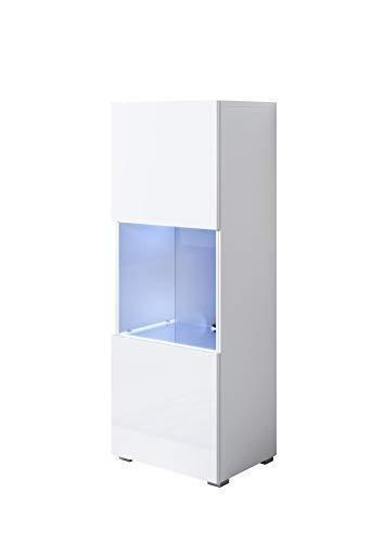 muebles bonitos Vitrina Modelo Luke V3 (40x128cm) Color Blanco con Patas estándar