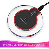 Wireless Charger, Certified Ultra-Slim Updated Version Fast Charging Compatible iPhone X, iPhone 8/8 Plus, Samsung Galaxy and Android Smartphones (AC Adapter Not Included)