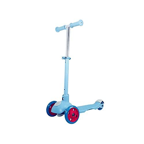 WANGYIYI Patinetes de un Solo pie Scooters Infantiles Intermitentes de 3 Ruedas Patinete Plegable Scooter de Varilla de aleación de Aluminio para niñas y niños (Color : Blue)