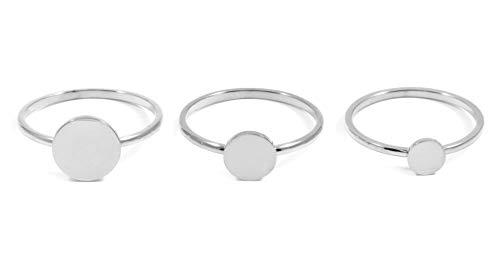 Happiness Boutique Damen Ring Set in Silberfarbe | Stapelringe Set 3 Kreis Ringe Geometrischer Edelstahlschmuck