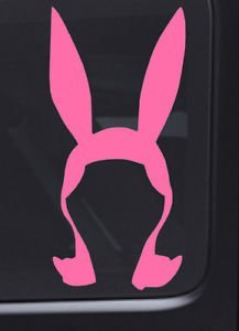 BOB'S BURGER TV SERIES BUNNY EARS LOGO STICKERS SYMBOL 6' DECORATIVE DIE CUT DECAL FOR CARS TABLETS LAPTOPS SKATEBOARD - PINK