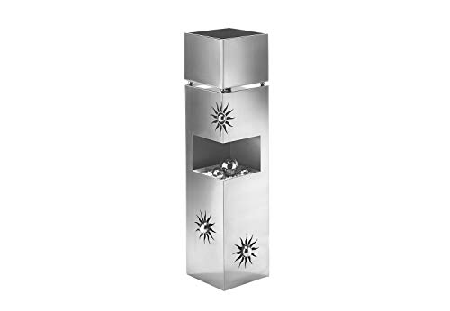 Kobolo Blumensäule Dekosäule Pflanzsäule Schale Bullet - Edelstahl 100 cm - 3 Dekokugeln