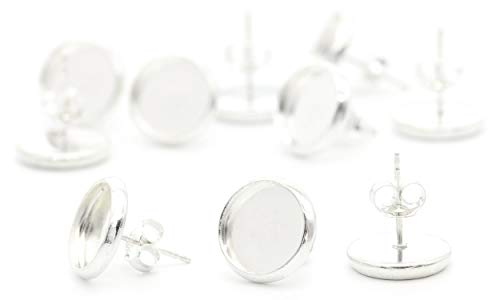 NaturSchatulle Ohrstecker mit Fassung 10mm Rohlinge 5 Paar Sterling Silber Butterfly Verschluss I Ohrringe Basteln DIY Schmuckherstellung Nickelfrei