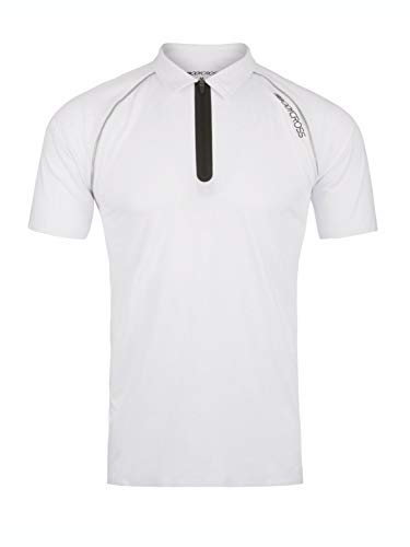 BODYCROSS Polo Manches Courtes Col Demi-Zip Homme Osval Blanc Training, Casual - Polyester/Élasthane - Bandes Thermocollées Au Bras Et Taille