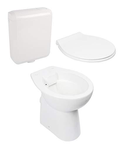 Calmwaters® - Spülrandloses Stand-WC mit 7 cm Erhöhung im Set mit WC-Sitz mit Absenkautomatik und Spülkasten - 99000187