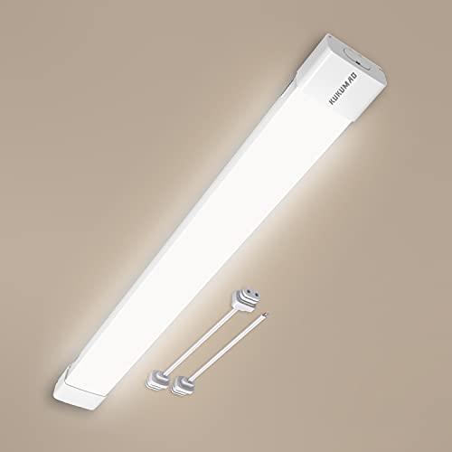 Lámpara LED de techo para ambientes húmedos, 60 cm, 20 W, 2000 lm, luz blanca neutra, 4000 K, IP65, resistente al agua, lámpara de techo para garaje, sótano, almacenaje, sala de ocio (60 cm - 20 W)