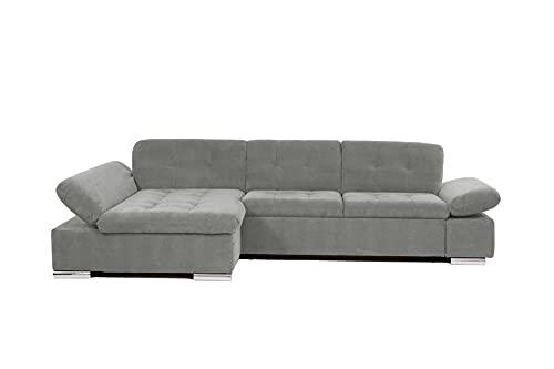 Honeypot Malvi Corner Sofa Bed with storage All Grey Left Hand