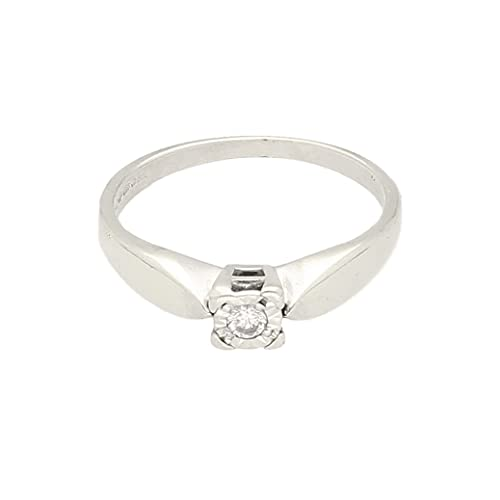 Anillo solitario de oro blanco de 9 quilates de 0,10 quilates (tamaño K 1/2) cabeza de 4 mm, anillo de lujo para mujer