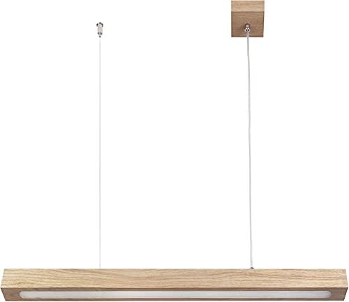 Eckige LED Hängelampe Echtholz Ahorn L96cm bis 80cm Hängetiefe 3000K 1330lm helle Pendelleuchte Esstisch Wohnzimmer