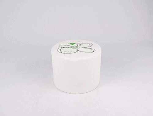 CAB Puff Puf Puf Flower Blanco Dibujo Verde (sintética con Texto la Acerca no Hay Impreso Reversible De Casa Y Oficina Mis. Base 46h.36desenfundable