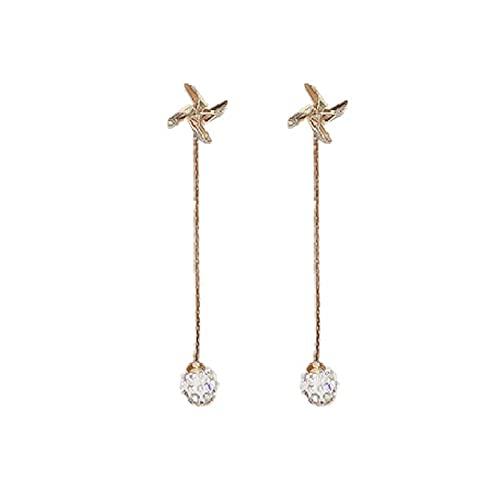 S925 Pendientes de moda de bola de diamante de diamante de aguja de plata Pendientes largos simples Pendientes de molino de viento personalizados