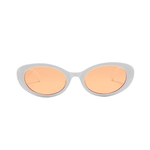 Lingaury Classical Collection Gafas de sol ovaladas con montura para mujer Tendencia de lujo - Gafas de sol retro con montura protegida UV400 con estuche, estuche y paño de limpieza - Naranja