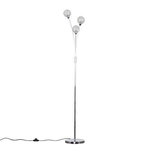 Modern 3 Way Polished Chrome & Clear Acrylic Floor Lamp