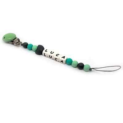 Cadena para chupete con nombre de niño con clip de silicona para dentición personalizada universal con adaptador Mam – Perlas de silicona dentada con clip