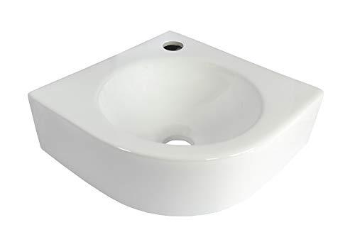 1x Eckwaschbecken (SS30) KERAMIK Wandmontage Aufsatz oval eckig Keramikwaschbecken Hänge Waschbecken Bad klein 30cmL 30cmB