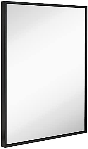 Hamilton Hills Clean Large Modern Black Frame Wall Mirror 30' x 40' Contemporary Premium Silver...