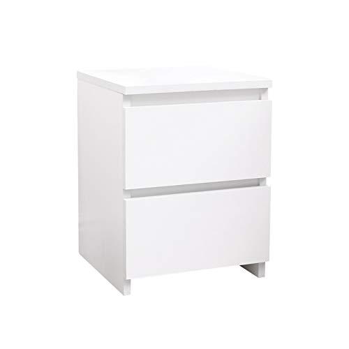 Mondeer Nachttisch, Nachtschrank Boxspringbett Schlafzimmer Arbeitzimmer Nachtkommde mit 2 Schubladen, 30(L) x 30(B) x 40(H) cm (Weiß)