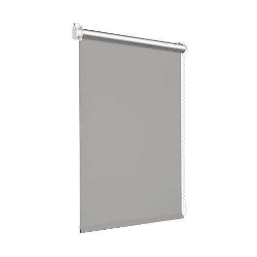 Estor enrollable con protección contra el sol, enrollable, térmico, montaje sin tornillos, agujeros para ventanas y puertas, estor enrollable (GRIS,57X250)