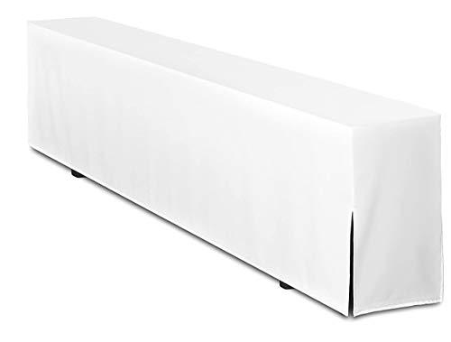 TexDeko Bierbankhusse für Bierzeltgarnitur 220cm Basic LANG (nur Bankhusse) Weiß waschbar und wiederverwendbar