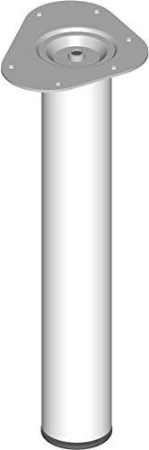 Element System 4 Stück Stahlrohrfüße rund, Tischbeine, Möbelfüße inklusive Anschraubplatte, Länge 40 cm, Durchmesser 60 mm, 4 Farben, 6 Abmessungen, weiß, 11102-00010