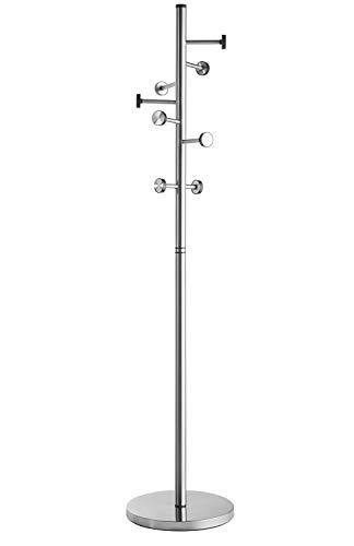 Alco Perchero de pie de Acero Inoxidable con 8 Ganchos, Aprox. 41 x 182 cm, Plata
